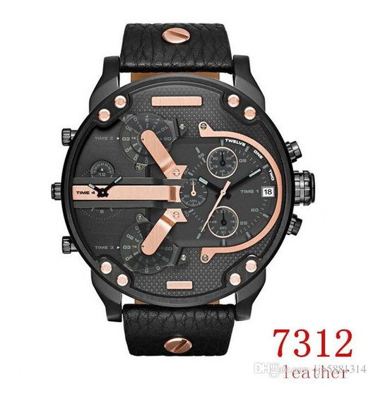 Relogio Montre Luxe 53mm Em Couro 7312 Time 4