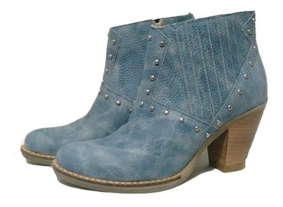 Bota Baja Cuero Azul B60
