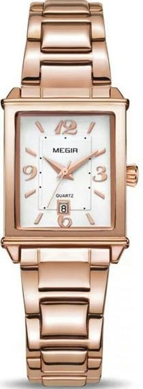 Relógio Feminino Megir 1079 Original De Luxo Ouro Rose