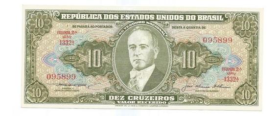 Brasil - C-078, 10 Cruzeiros 1956, Série 1332, Sob/fe - Rara