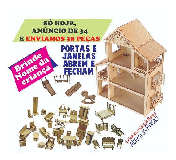 Casa Casinha Para Boneca Polly +38 Mini Móveis Mdf Madeira