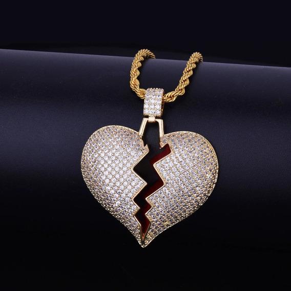 Colar Masculino Dourado Brilhante Coração Zirconia Trap