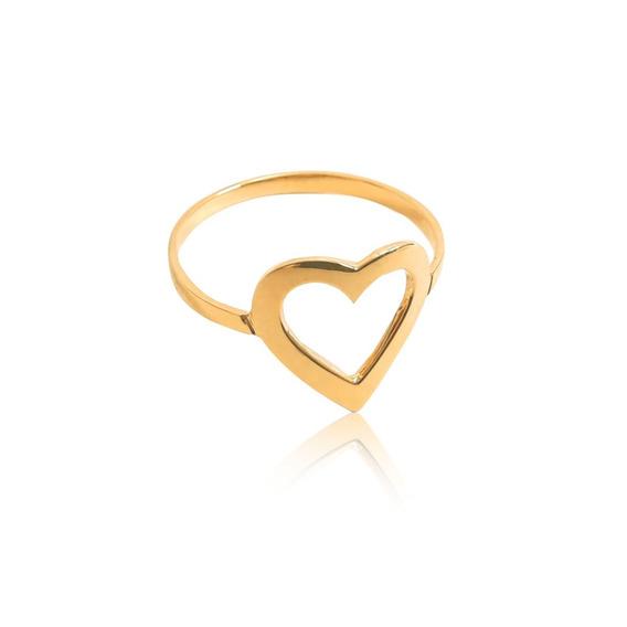 Anel Viu Gold Em Ouro 18k Amarelo De Coração