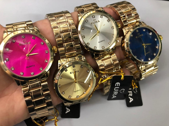 10 Kits Relógio Eura + Caixinha Personalizada