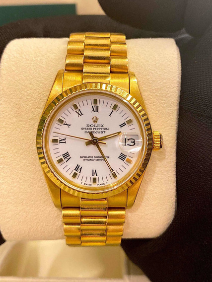 Rolex Datejust President Full Gold 31mm , Safira E Impecavel