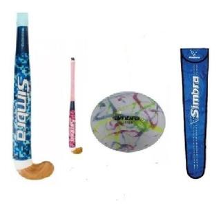 Kit Palo Hockey Madera, Cesped,36+ Funda+bola Tuttis