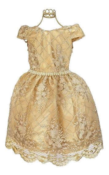 Vestido Infantil Renda Dourado Casamento Dama Luxo Promoção