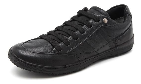Sapatênis Ferracini Couro Whiter Plus Black 7155