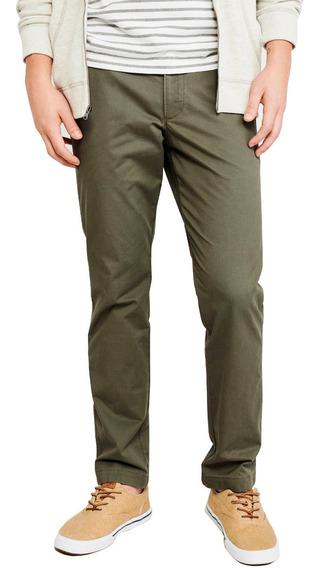 Pantalon De Gabardina De Hombre Corte Chino Intermedio