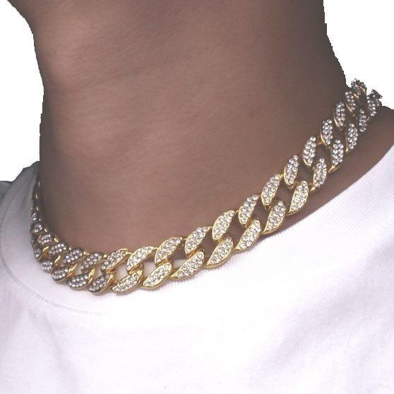 Collar Gargantilla Cadena Cubana Con Circonitas
