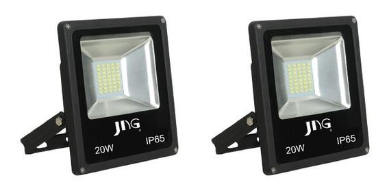 Kit 2x Refletor Super Led Jng Eco 20w 6500k Branco Frio Biv