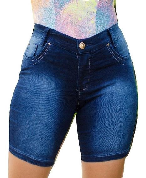 Kit 3 Short Meia Coxa Jeans Feminino 3% Lycra Promoção