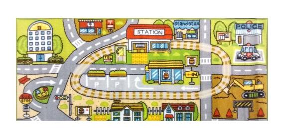 Carpeta Alfombra Infantil 67x120 Pista De Auto Mod.estacion