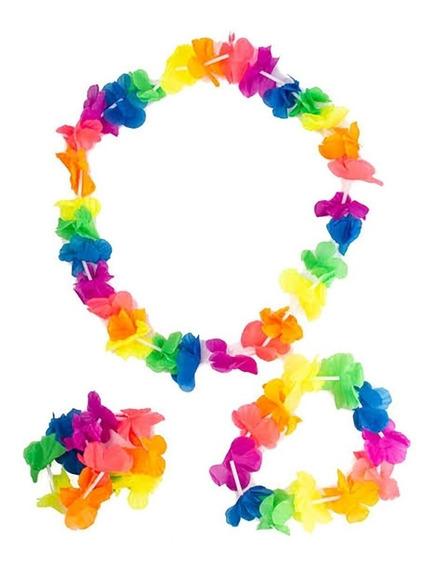 Disfraz Hawaiano Kit 4 Piezas Corona Collar Pulsera Flores