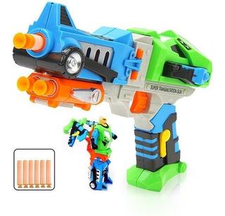 Pistola Lanza Dardos Se Trasforma En Robot Soft Gun Bullet!!