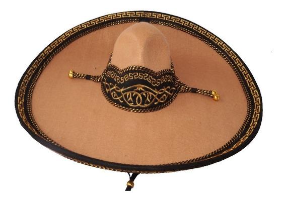 Sombrero Charro Beige Fino Dorado Adulto Charreria Artesanal