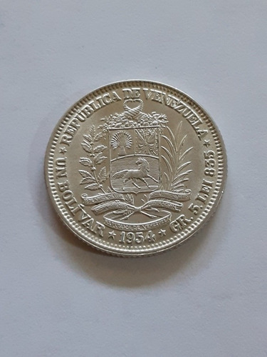 Imagen 1 de 4 de Excelente Moneda Plata. Un Bolívar. 1 Bs Venezuela. Año 1954