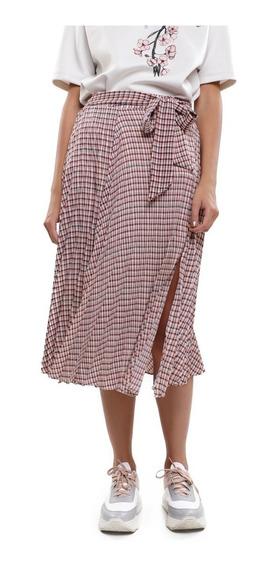 Falda Midi Mujer Plisada Lazo En Cintura Color Tinto Lob