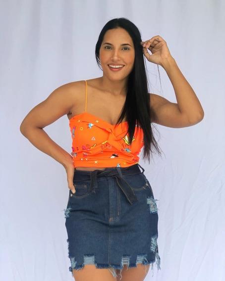Saia Jeans Feminina Luxo Premium Top