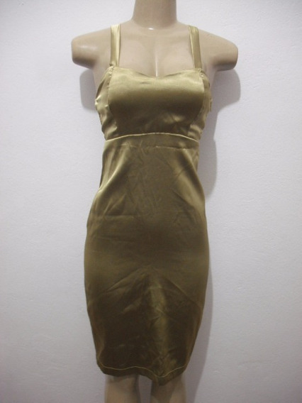 Vestido Cetim Festa Curto Dourado Tam P Com Bojo Bom Estado