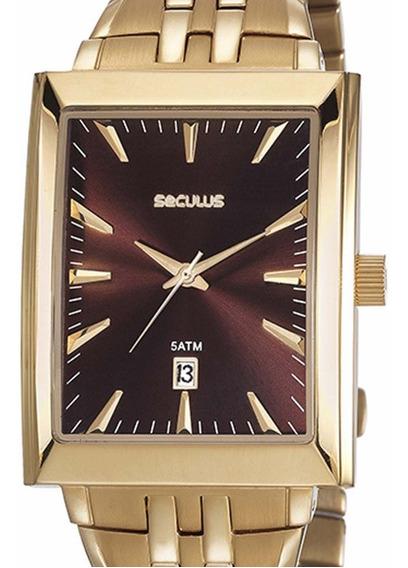 Relógio Seculus Masculino Clássico 20608gpsvda2 Dourado + Nf