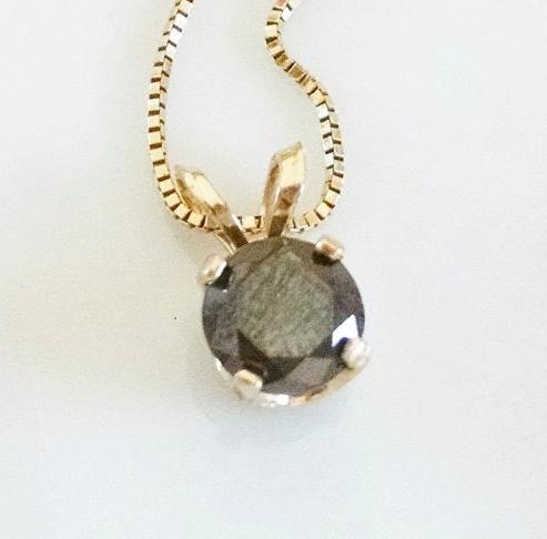 Dije Solitario Diamante Negro De .50ct En Oro Sólido 14k