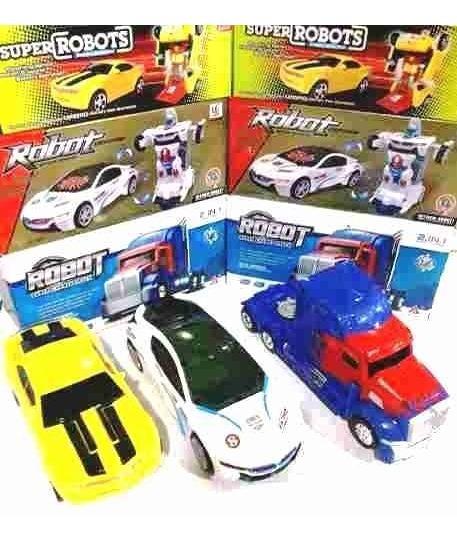 Kit 2 Carrinho Vira Robô Luz Som Transformers+1 Caminhão