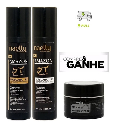 Imagem 1 de 6 de Naelly St Premium Amazon P1 E P2 500ml + Mascara Hidratação
