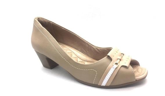 Sapato Peep Toe Salto Baixo Bege Comfortflex Frete Grátis