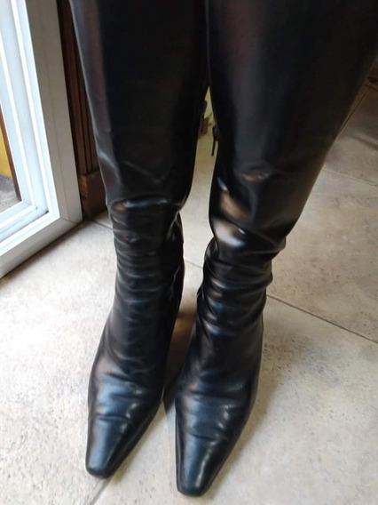 Botas De Vestir Caña Larga En Cuero Negro Nro 38
