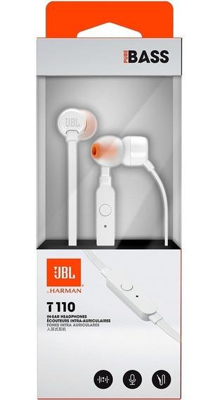 Fone De Ouvido Jbl Intra-auricular Com Microfone Branco T110