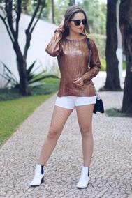 Blusa Tricot Blusa De Frio Casaco Inverno Com Brilho E Ilhos