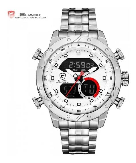 Relógio Shark Sh589 Snaggletooth Esporte Dual Time Masculino