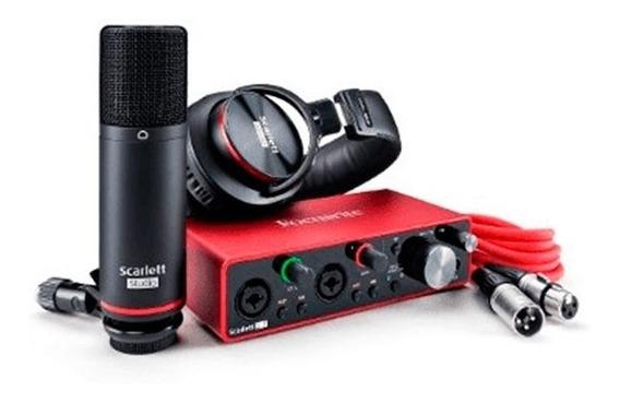 Kit Interface Microfone Headphone Scarlett 2i2 Studio