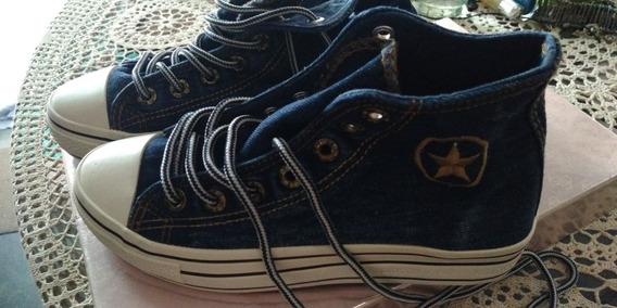 Botas Zapatos Tipo Converse Color Jean Dama Talla 37 Oferta