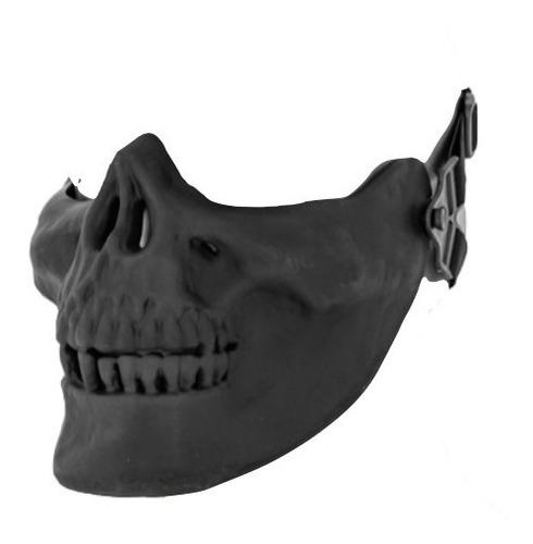 Imagen 1 de 2 de Mascara Airsoft Calavera Negra Proteccion Media Cara Xtr P