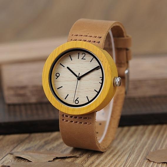 Relógio De Madeira Bobo Bird Feminino Couro Original Wd18