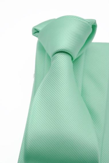 Corbata Italiana Agua Marina Lisa Marca Idea Seda 8 Cm