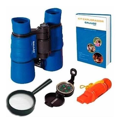 Kit Explorador Galileo Binocular Silbato Espejo Brújula Lupa