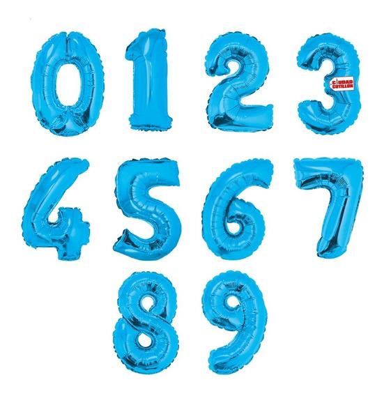Globos Números Metalizados Celeste 14 Pulgadas X 1 - Cc