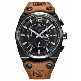 Relógio Masculino Aço Inox Pulseira Couro Calendário Preto