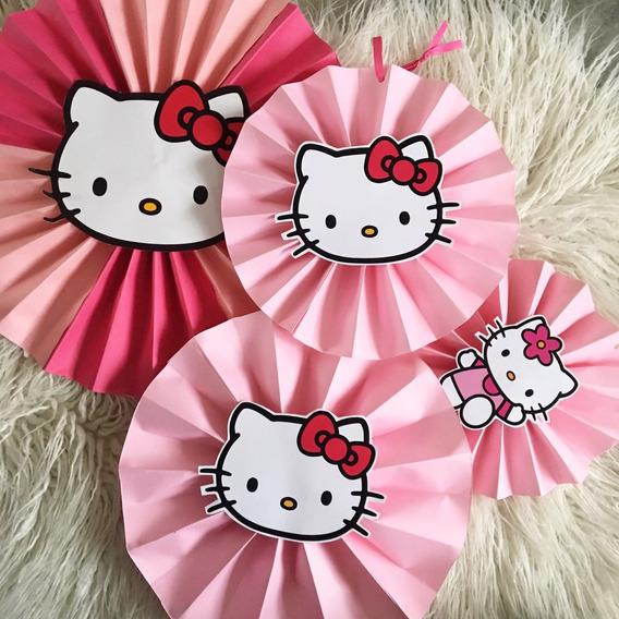 Kit X4 Adornos Colgantes Cotillón Hello Kitty Cumpleaños