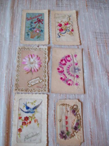 Lote De 6 Postales Bordadas Sobre Cartón Ornamentado