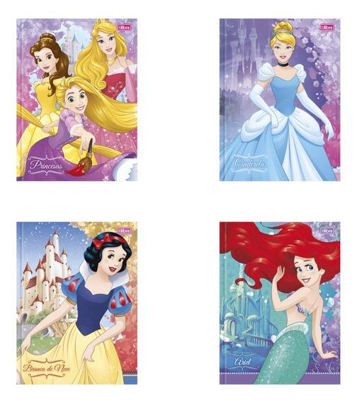 Caderno Brochura Capa Dura Princesas 96 Folhas Tilibra