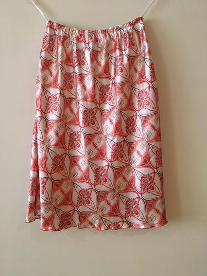 Falda Coral Con Estampado De Flores Tipo Satin Talla 10
