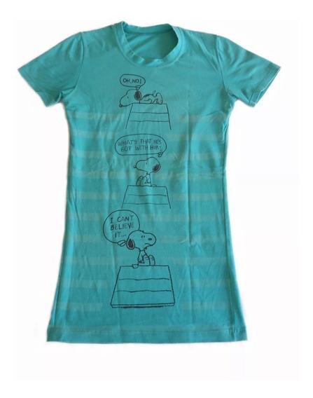 Remera Dibujo Snoopy T. M Elastizada Larga Algodon Suave