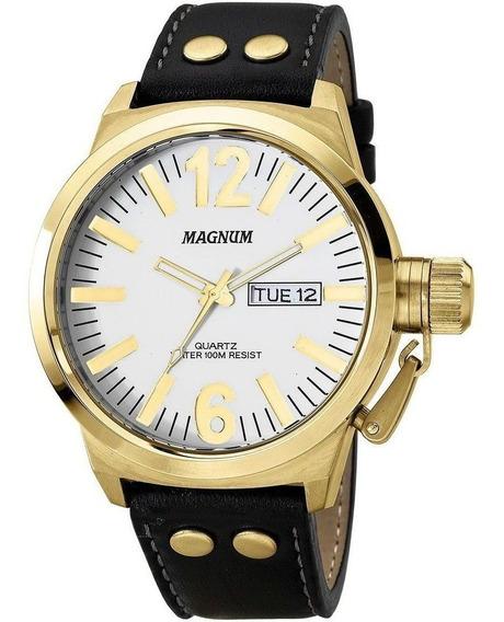 Relogio Dourado Masculino Militar Original Magnum Ma31524b