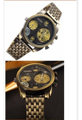 Relógio Oulm Homem 2 Em 1 Aço Inoxidável Antigo