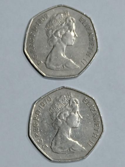 Monedas Gran Bretaña,50 New-pence,año 1969-70