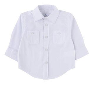 Camisa Para Niño Y Bebe Blanca Manga Larga